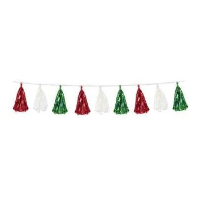 Garland Tassel Banner 8' - Red White $ Green