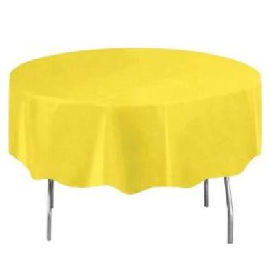 Neon Yellow Round Plastic Tablecover 84