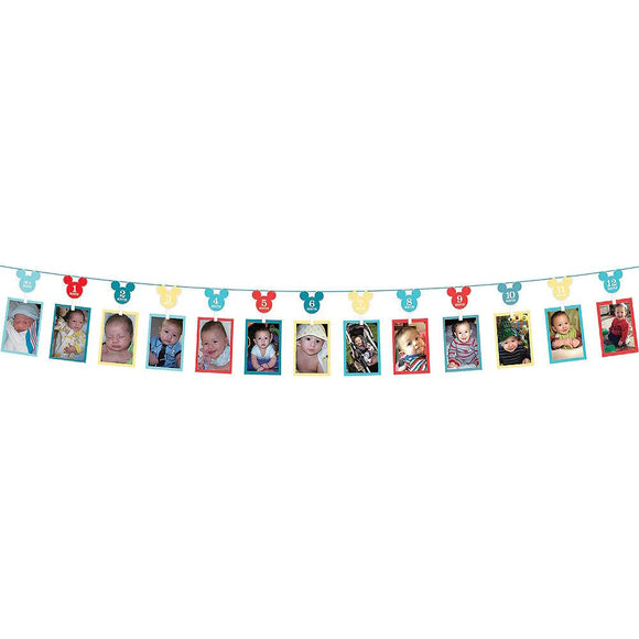 Mickey 1st Birthday Photo Garland 12'