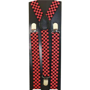 Kid Suspenders Red/Blk Check