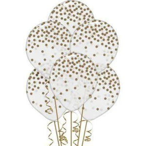"White and Gold Confetti Latex Balloons 12"" - 6 Pack"