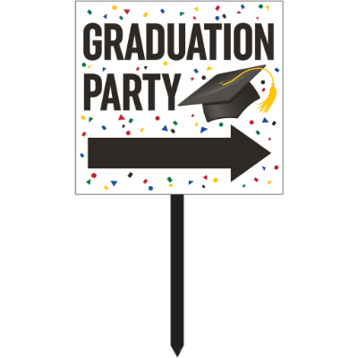 In-Store Only - White Graduation Direction Yard Sign