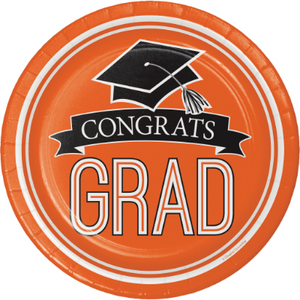 Orange Congrats Grad Dessert Plate - 18 Pack