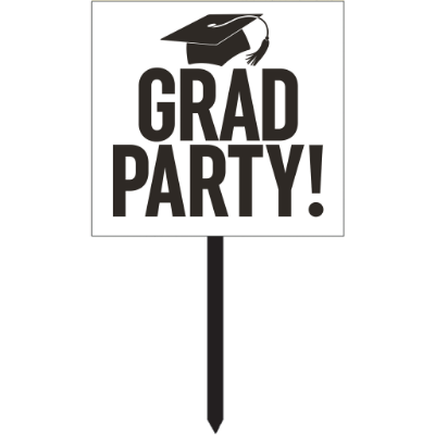 In-Store Only - White Grad Party Yard Sign 15