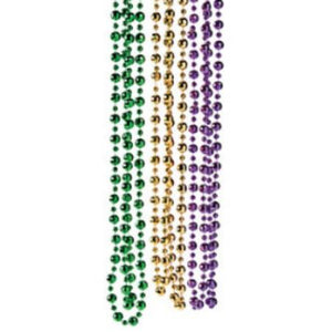 Mardi Gras Deluxe Bead Necklace - 24 Pack