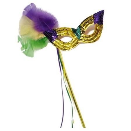 Mardi Gras Sequin Mask with Feathers and Stick