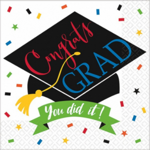 You Did It! Grad Beverage Napkin - 125 Pack