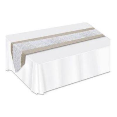 Burlap Lace Table Runner 6'