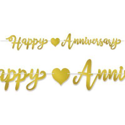 Banner Happy Anniversary Gold