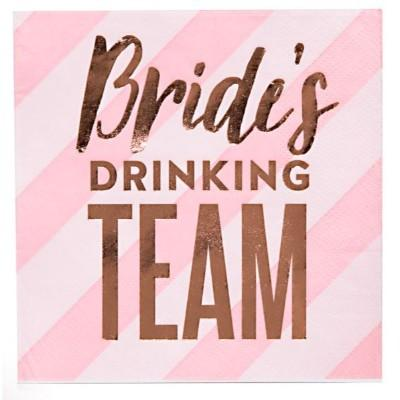 Bride's Drinking Team Beverage Napkin - 20 Pack