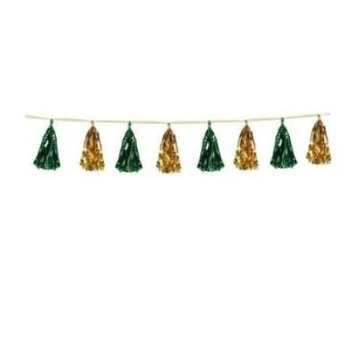 Metallic Green & Gold Tassel Garland 8'