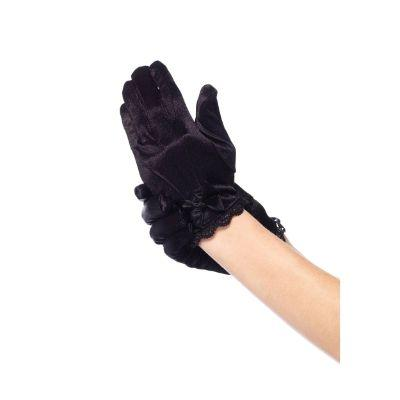 Black Satin Lace Trim Gloves With Bow