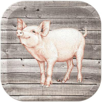 Farm Table Plate Pig Pk8