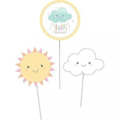 Sunshine Baby Shower Centerpiece Cutout Sticks 3 Pack