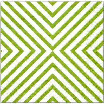 Green Chevron Beverage Napkins - 20 Pack