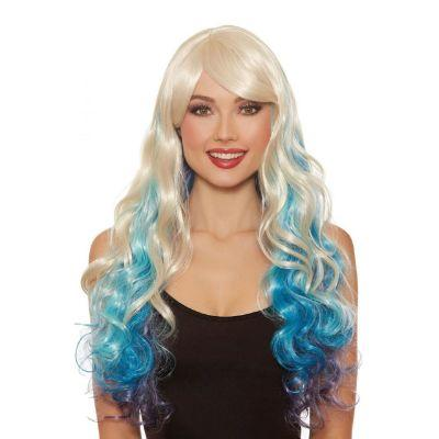 Long Wavy Wig in Blonde and Blue