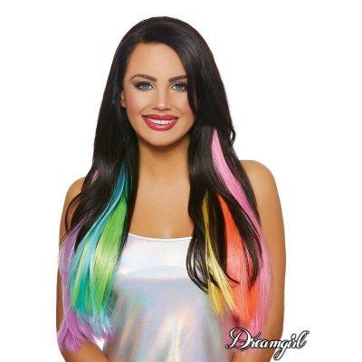Straight Neon Rainbow Hair Extensions