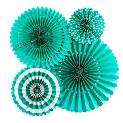 Party Fan Kit Teal Pk4