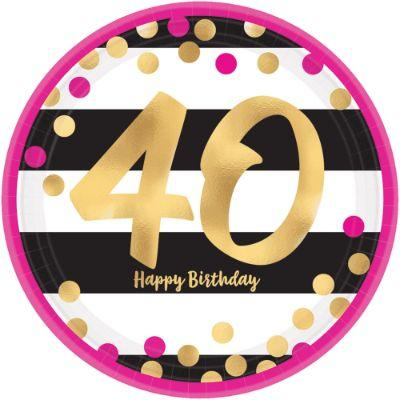 Pink & Gold 40th Birthday Dessert Plate - 8 Pack