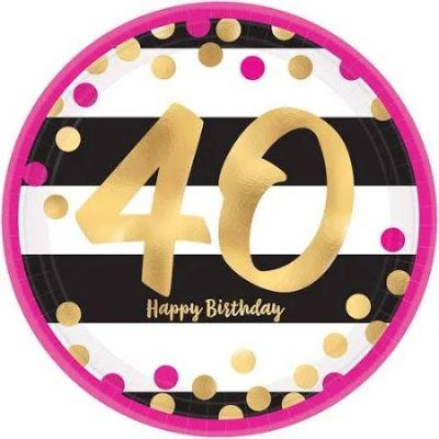 Pink & Gold 40th Birthday Dinner Plate - 8 Pack