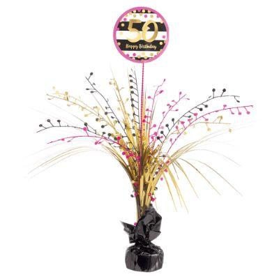 Pink & Gold 50 Centerpiece 18