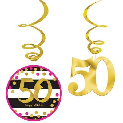 Pink & Gold 50 Deco Hang Pk12