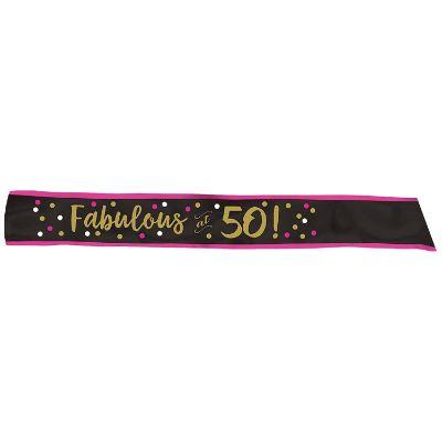 Pink & Gold 50 Fierce Sash
