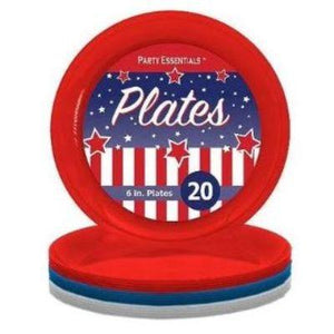 "Patriotic Colors Plastic Plates Assorted 6"" - 20 Pack"