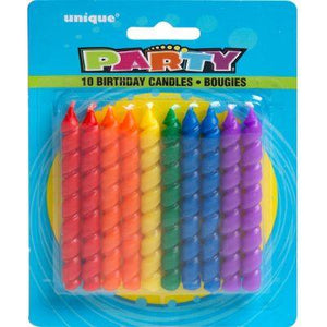 Candle Spiral Rainbow Pk10