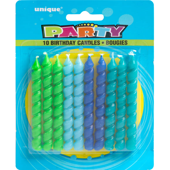 Blue & Green Spiral Birthday Candles