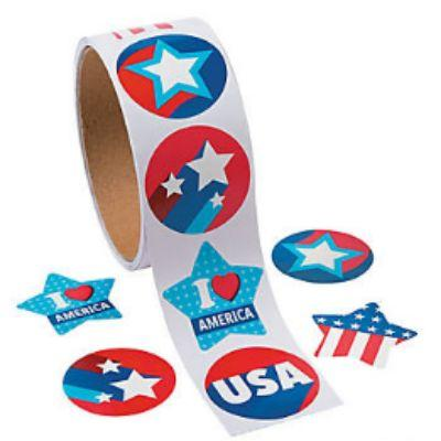 Patriotic Sticker Roll - 100 Pack