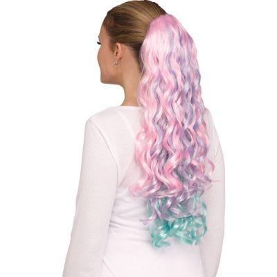 Pastel Unicorn Clip Curly Tail