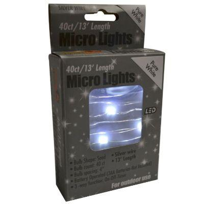 Warm White Micro Silver Light String 13'