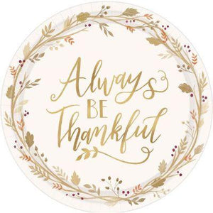 Always Be Thankful Dinner Plates - 18 Pack