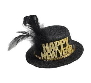 New Year's Mini Party Hat - Black & Gold