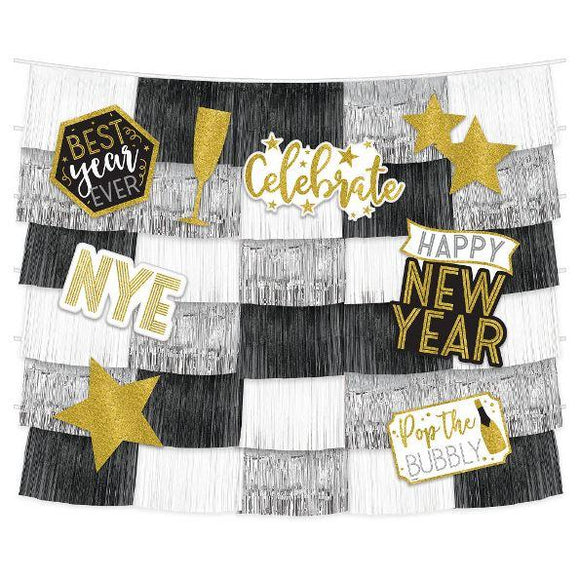 New Years Fringe Backdrop With Cutouts