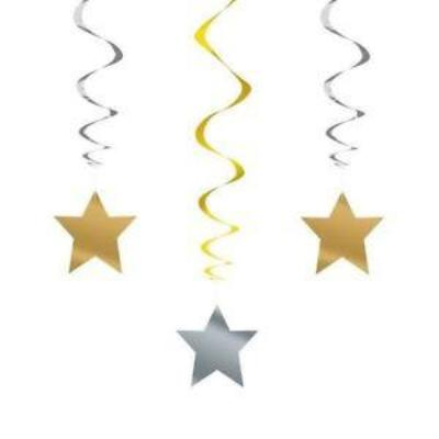 Gold & Silver Stars Hanging Decorations 3 Pack