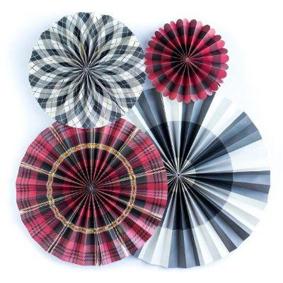 Plaid Multicolor Party Paper Fans