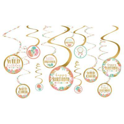 Boho Birthday Decoration Swirl Pk12