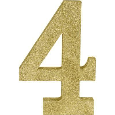 Number 4 Gold Glitter
