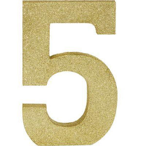 Number 5 Gold Glitter