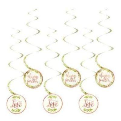 Love & Leaves Swirl Decorations - 12 Pack