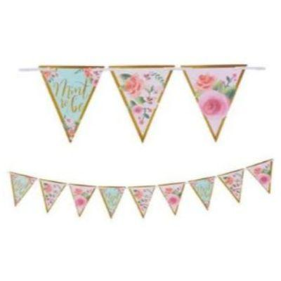 Mint To Be Floral Pennant Banner 15'