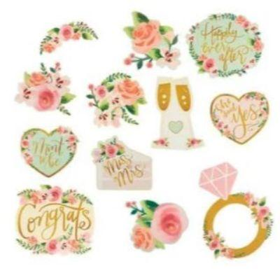 Mint To Be Floral Wedding Decoration Cutouts - 12 Pack