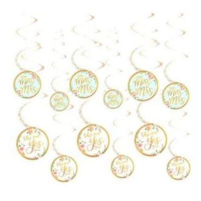 Mint To Be Floral Hanging Swirl Decorations - 12 Pack
