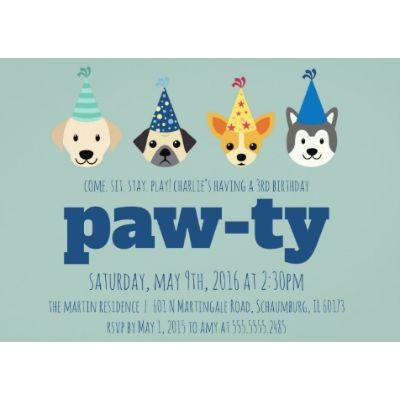 Dog Party Invitation - 8 Pack