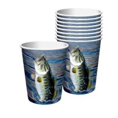 Gone Fishing Paper Cups 12 oz. - 8 Pack