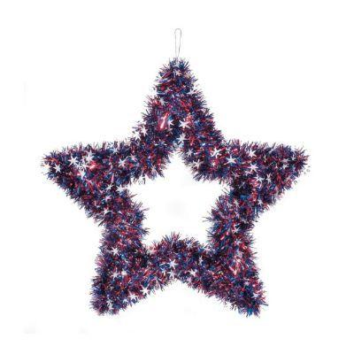 Patriotic Tinsel Wreath Star
