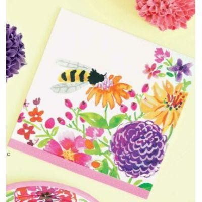 Floral Painted Luncheon Napkins - 16 Pack