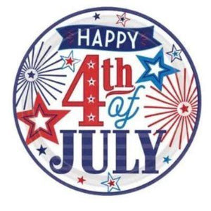 "Happy Fourth Paper Dinner Plate 10"" - 18 Pack"